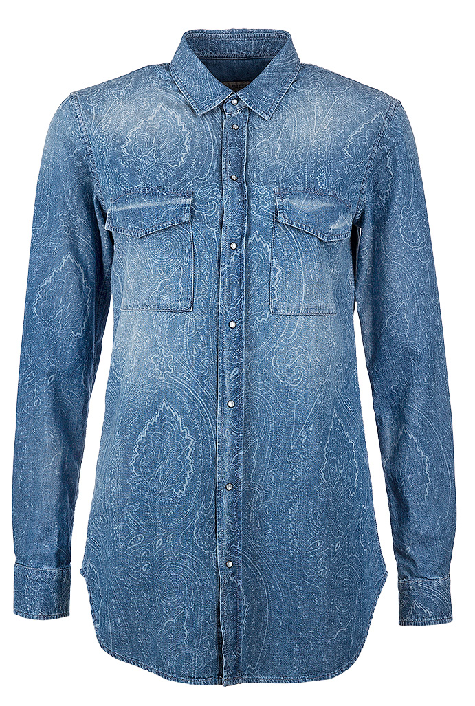 Etro Damen Jeansbluse mit Paisleyprint Blau