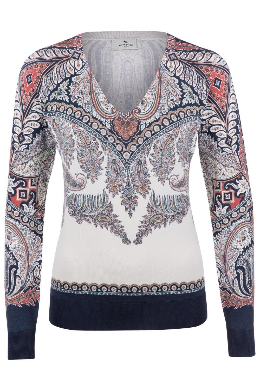 Etro Damen Pullover mit Paisleymuster Marineblau/Weiss