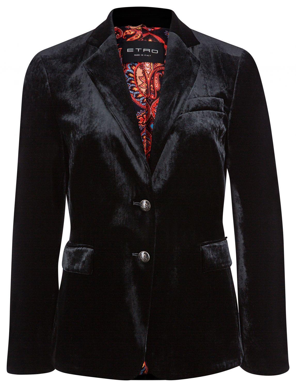 Kaufen Sie Authentic Farben und auffällig angemessener Preis Etro Damen Samtblazer Schwarz