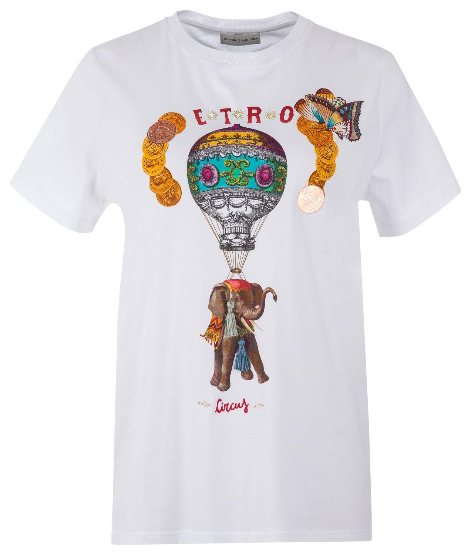 Etro Damen T-Shirt Circus Weiss