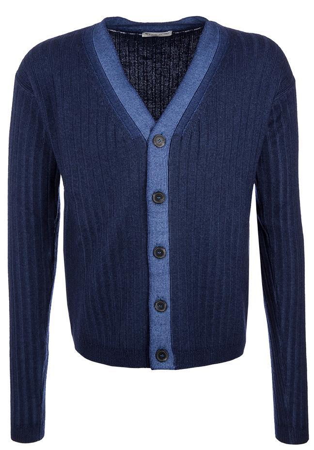 Etro Herren Strickjacke mit V-Ausschnitt Blau