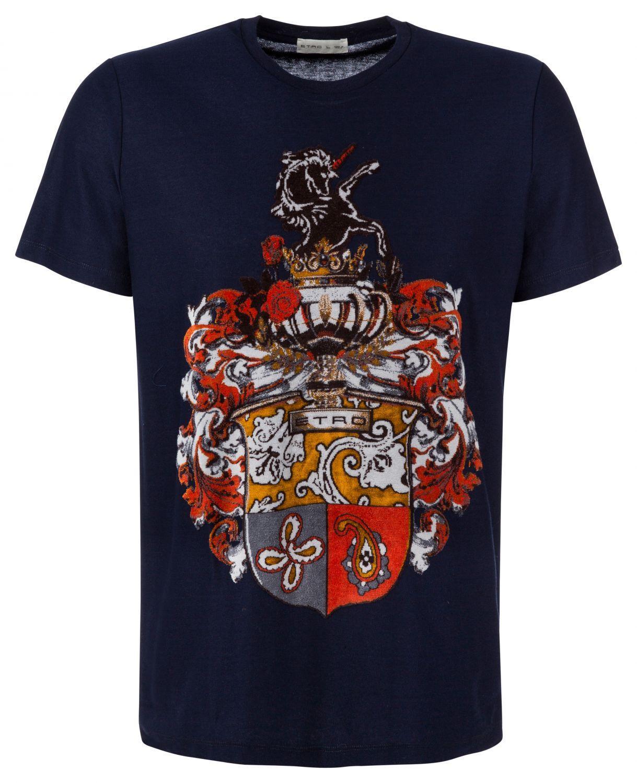 Etro Herren T-Shirt mit Samtdruck Navy