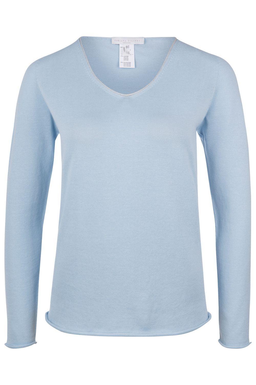 online retailer 79283 ac382 Fabiana Filippi Damen Pullover mit V-Kragen Hellblau