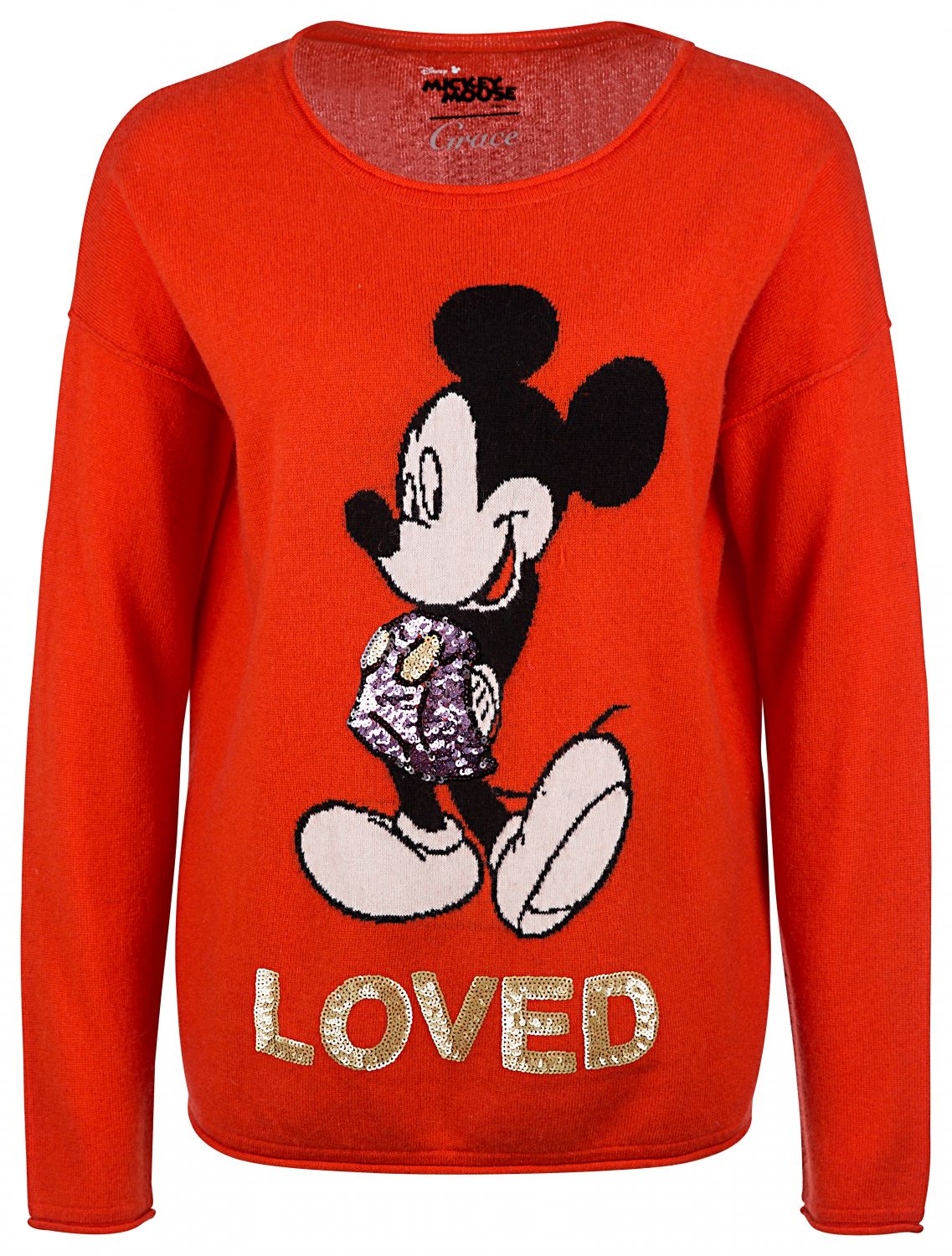 "Grace Damen Strickpullover ""Loved"" Orange"