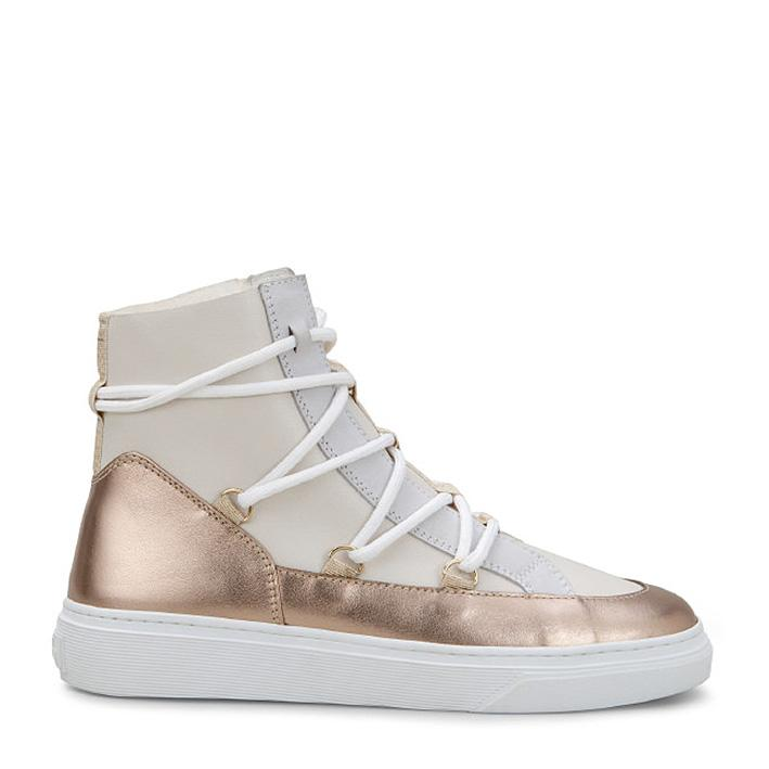 Hogan Damen Hightop Sneaker H342 Weiss/Bronze