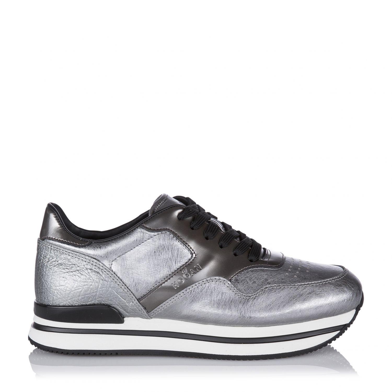 new style a3750 62f3e Hogan Damen Ledersneaker mit erhöhtem Plateau Silber