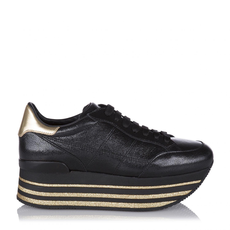 Hogan Damen Plateau Sneaker H368 Maxi Schwarz