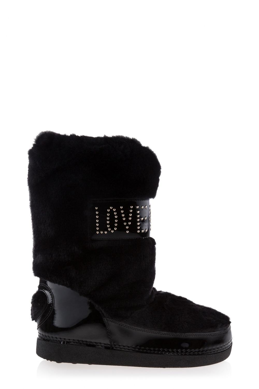 Love Moschino Damen Schneestiefel aus Kunstfell Schwarz