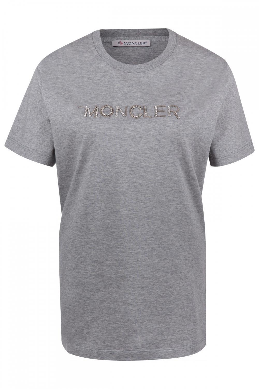 Moncler Damen T-Shirt Hellgrau