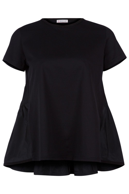 Moncler Damen T-Shirt mit Schößchen Schwarz
