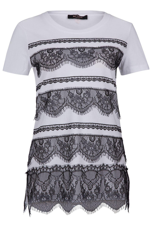 My Twin Damen T-Shirt mit Spitzenbesatz Weiss