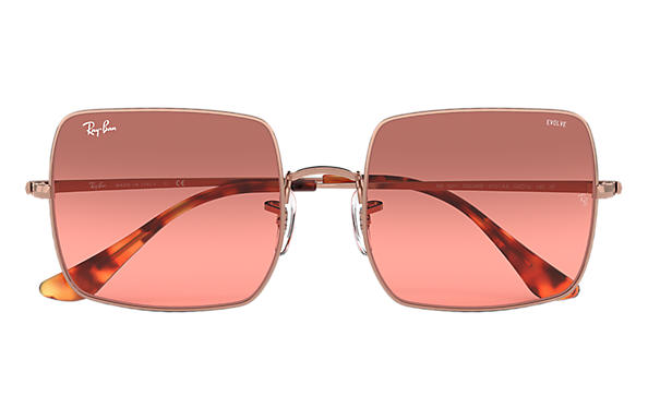 Ray Ban Damen Sonnenbrille Square Evolve Rot Photochromatisch