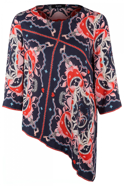 Riani Damen Bluse mit Print Navy