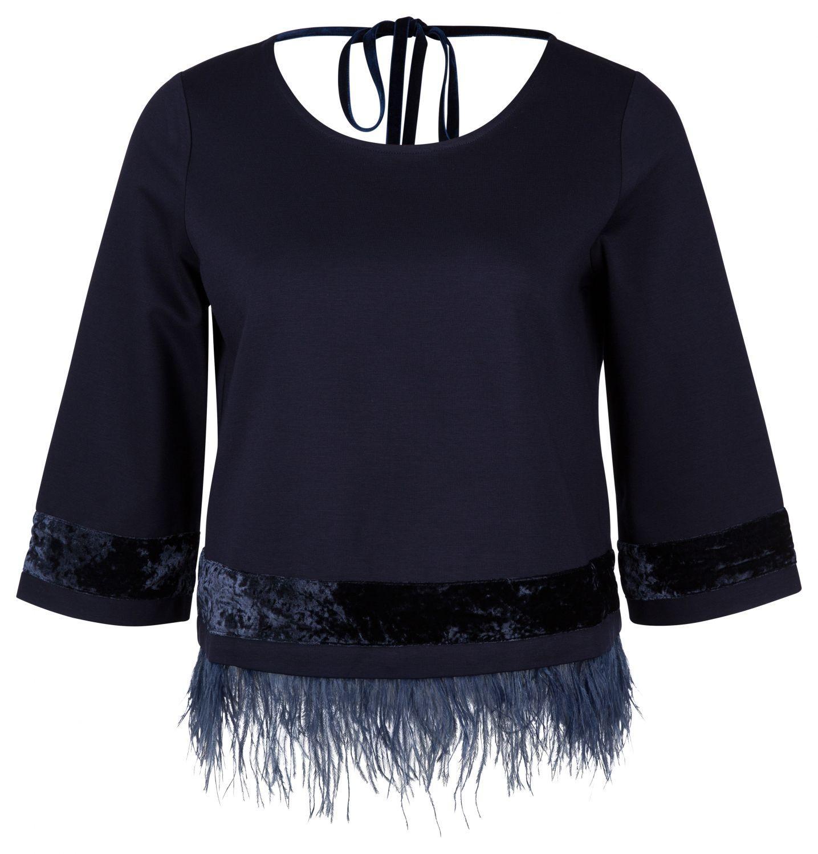 Riani Damen Pullover mit mit Federbesatz Blau