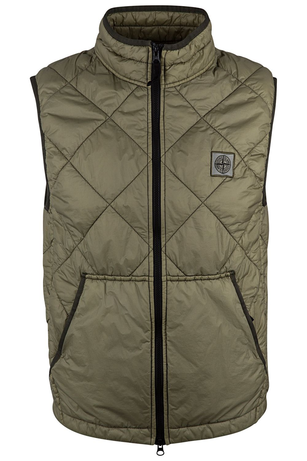 Stone Island Herren Steppweste Garment Dyed Quilted Micro Yarn Olive