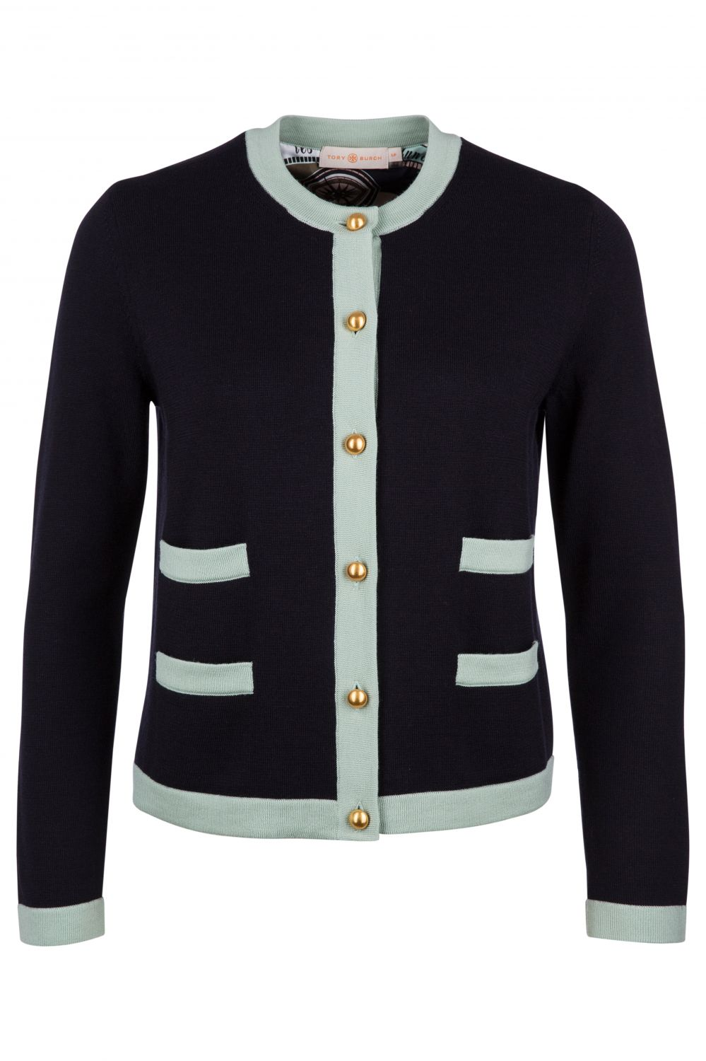 Tory Burch Damen Cardigan Kendra Medium Navy/Spring Mint