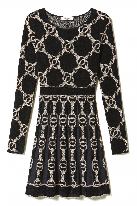 Twin Set Damen Kleid mit Kettendesign Schwarz