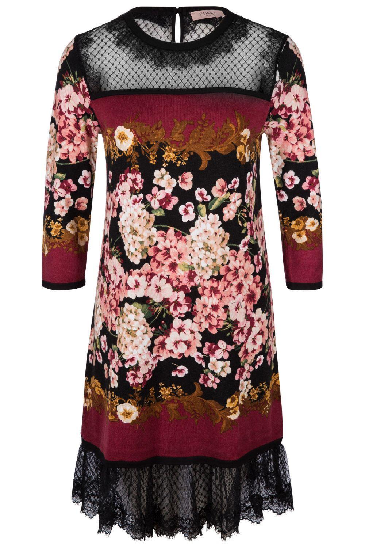 Twin Set Damen Kleid mit Spitzendetails Bordeaux