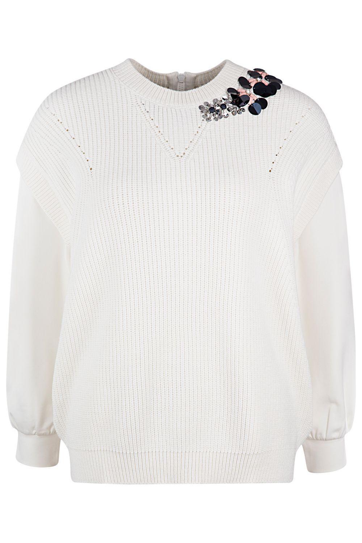 Twin Set Damen Pullover mit Strickeinsatz Bianco Seta