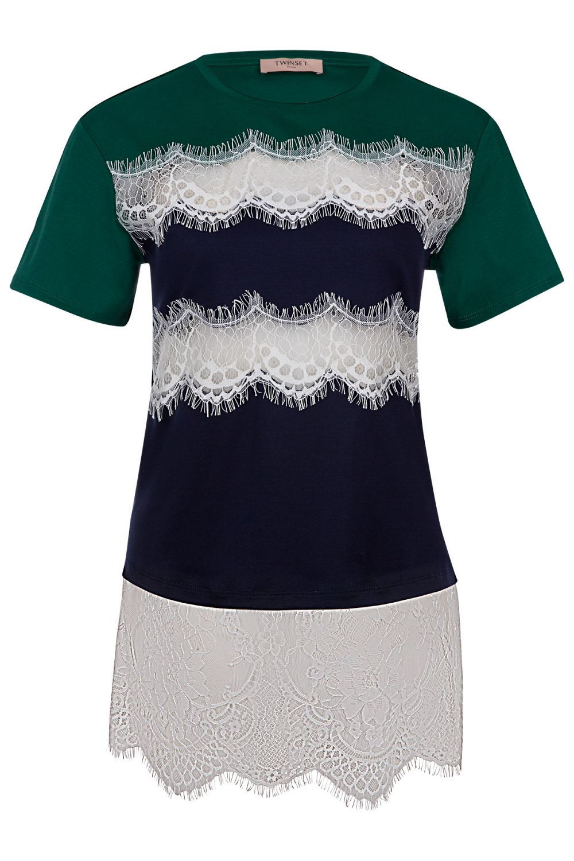 Twin Set Damen T-Shirt mit Spitzenbesatz Grün/Blau
