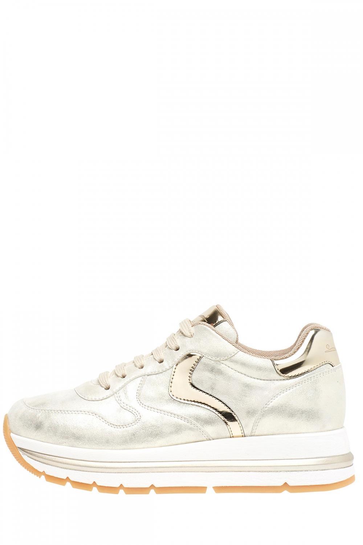 Voile Blanche Damen Plateau Sneaker Maran Vit Silber/Gold