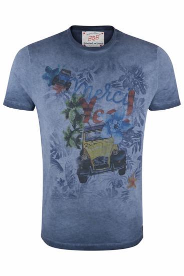 Herren T-Shirt Hell Blu Tinto Freddo