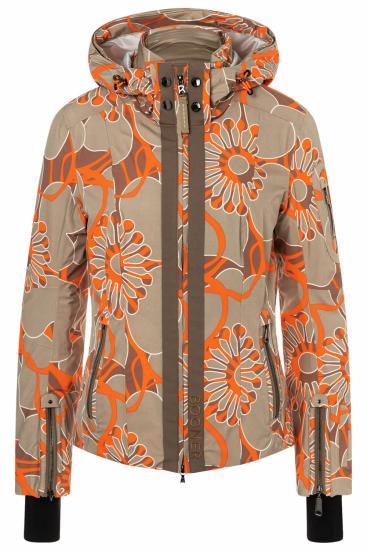 Damen Skijacke Tula-T mit Print Beige/Orange
