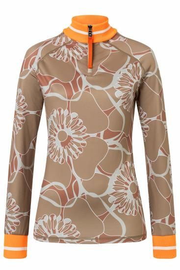Damen Skishirt Madeline Cognacbraun/Orange