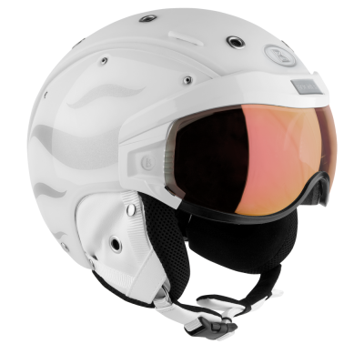 Skihelm B-Visor Flames White
