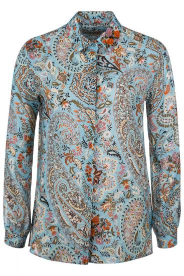 Damen Bluse mit Paisleymuster Hellblau