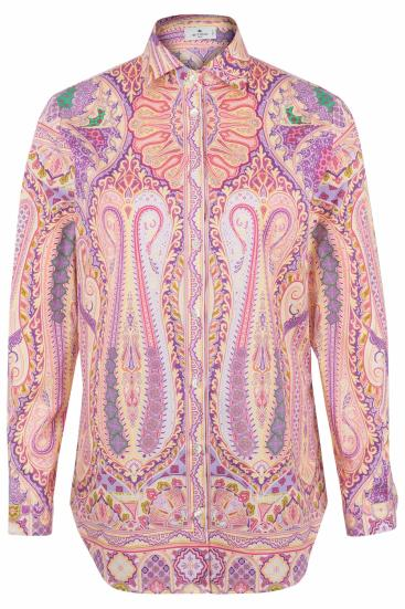 Damen Bluse mit Print Pink