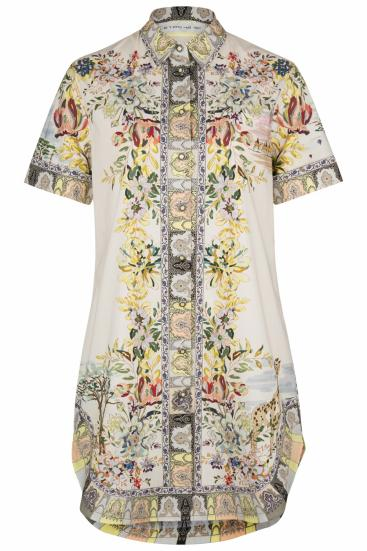 Damen Blusenkleid mit Print Beige