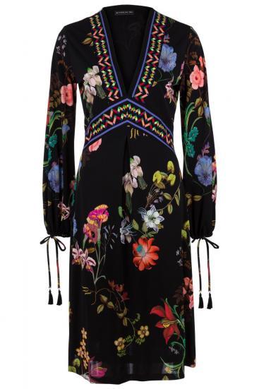 Damen Kleid mit Floralprint Schwarz