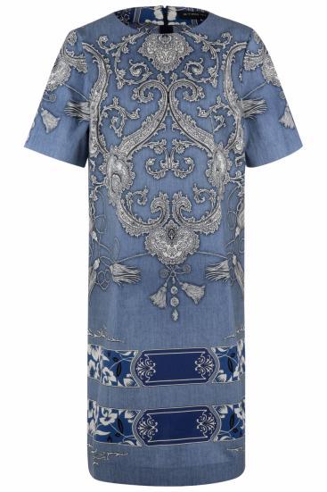 Damen Kleid mit Paisleymuster Denim Blau