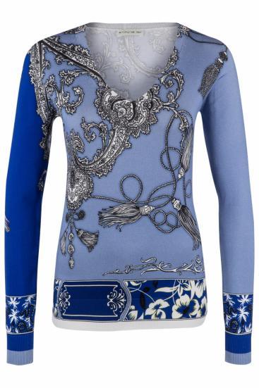Damen Pullover mit Paisleymuster Blau