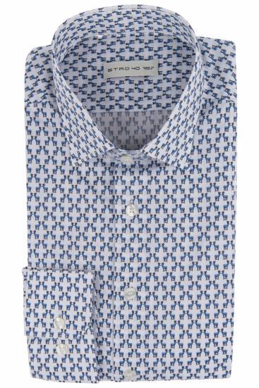 Herren Hemd mit Hirschmotiven Hellblau