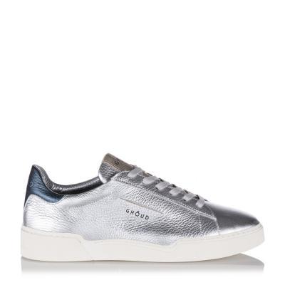 Damen Ledersneaker mit Silberbeschichtung Silber