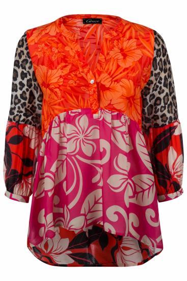 Damen Bluse in Patchworkoptik Pink/Orange