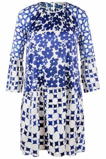 Damen Kleid mit Alloverprint Indigo