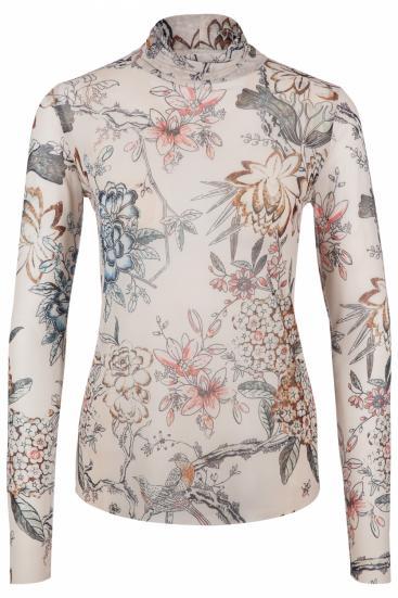 Damen Langarmshirt Transparent/Beige