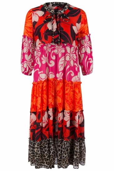 Damen Maxikleid in Patchworkoptik Pink/Orange