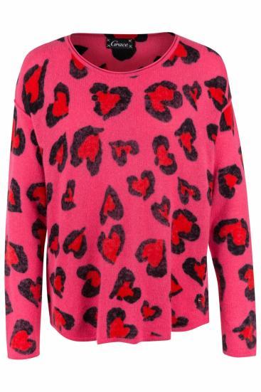 Damen Strickpullover Bubble Hearts Pink