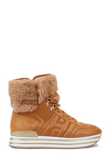 Damen Hightop Sneaker H483 Cognacbraun