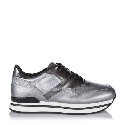 Damen Ledersneaker mit erhöhtem Plateau Silber