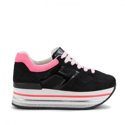 Damen Plateau Sneaker H422 Schwarz