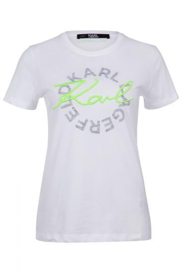 """Damen T-Shirt """"Neon Lights"""" Weiss/Grün"""