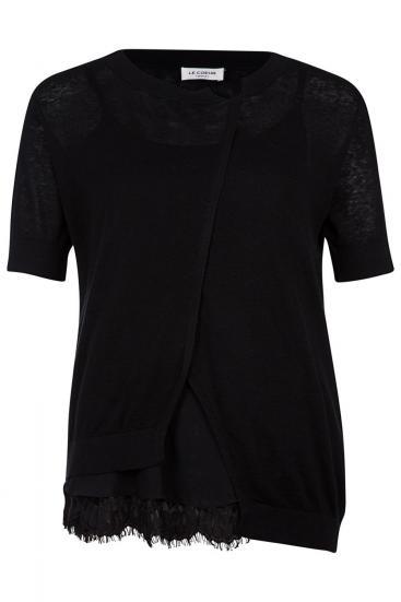 Damen T-Shirt mit integriertem Top Schwarz