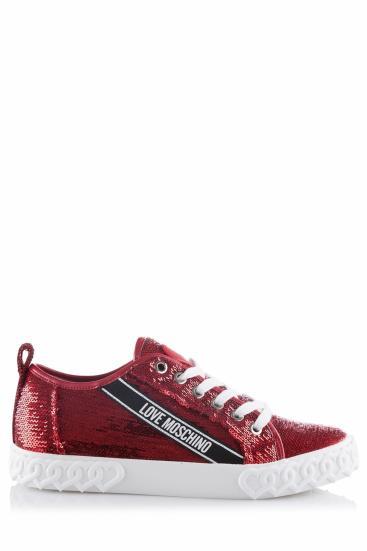 Damen Sneaker mit Pailletten Rot