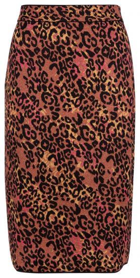 Damen Bleistiftrock mit Leopardenmuster Rot/Gold