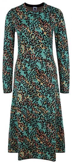 Damen Strickkleid mit Leopardenmuster Türkis